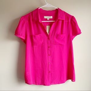 Loft Pink Collared Button Up Career Blouse NWT